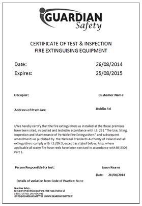 Fire ext cert